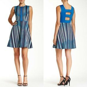 Marc New York Fit & Flare Stripe Scuba Dress